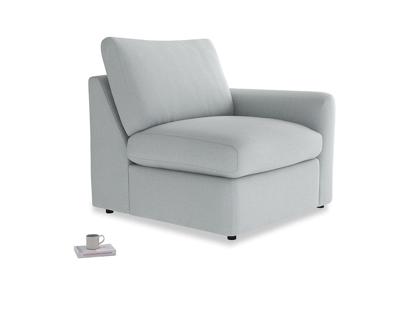 Chatnap Storage Single Seat in Gull Grey Bamboo Softie with a right arm