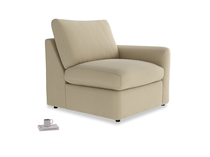 Chatnap Storage Single Seat in Hopsack Bamboo Softie with a right arm