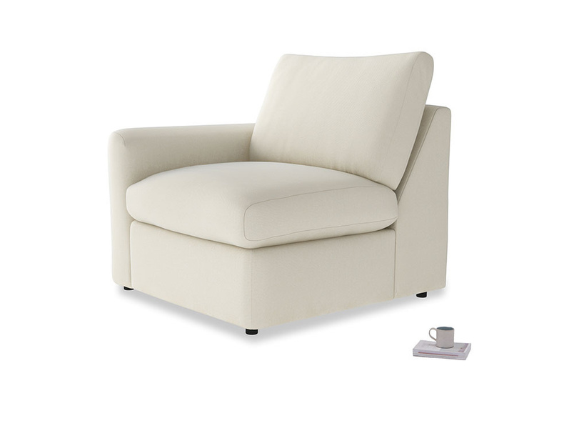 Chatnap Storage Single Seat in Alabaster Bamboo Softie with a left arm