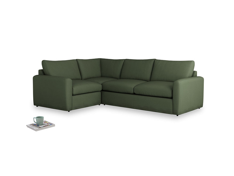 Large left hand Chatnap modular corner storage sofa in Forest Green Clever Linen with both arms