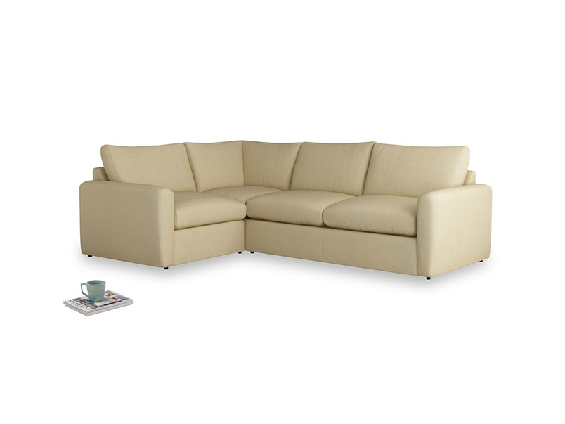 Large left hand Chatnap modular corner storage sofa in Parchment Clever Linen with both arms