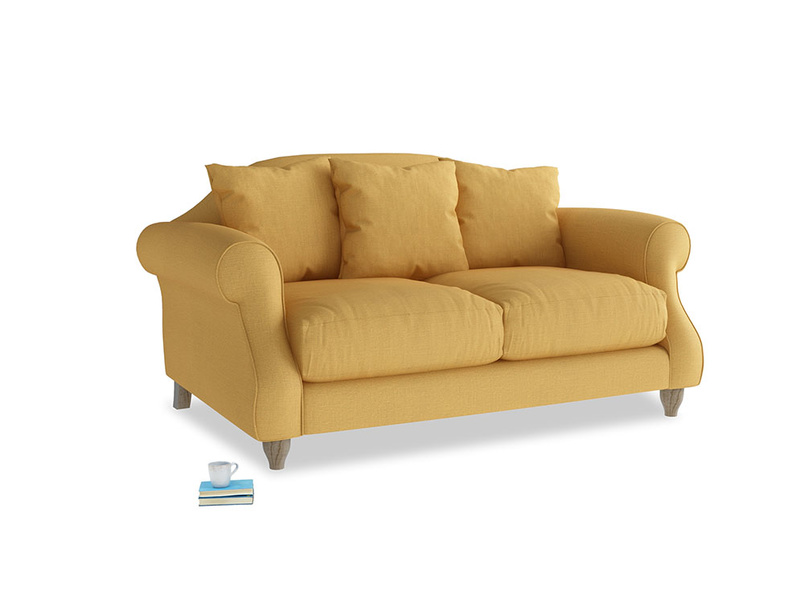 Small Sloucher Sofa in Dorset Yellow Clever Linen