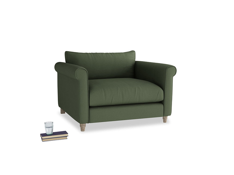 Weekender Love seat in Forest Green Clever Linen
