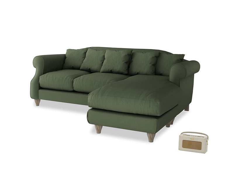 Large right hand Sloucher Chaise Sofa in Forest Green Clever Linen