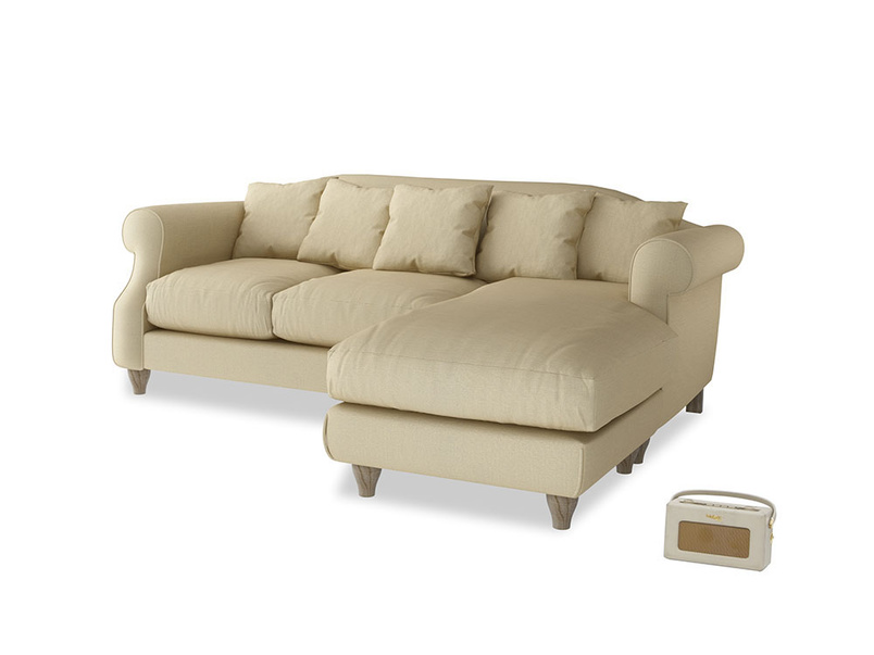Large right hand Sloucher Chaise Sofa in Parchment Clever Linen