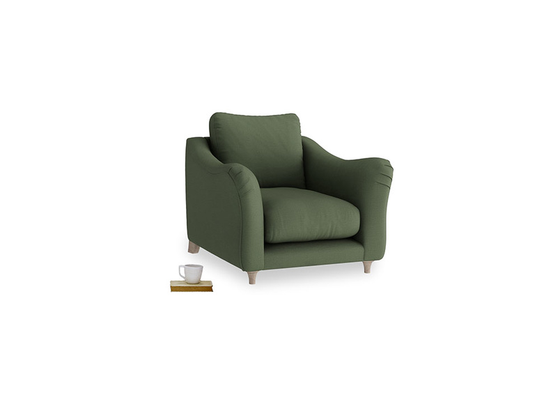 Bumpster Armchair in Forest Green Clever Linen