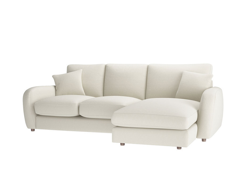 Large right hand Easy Squeeze Chaise Sofa in Oat brushed cotton