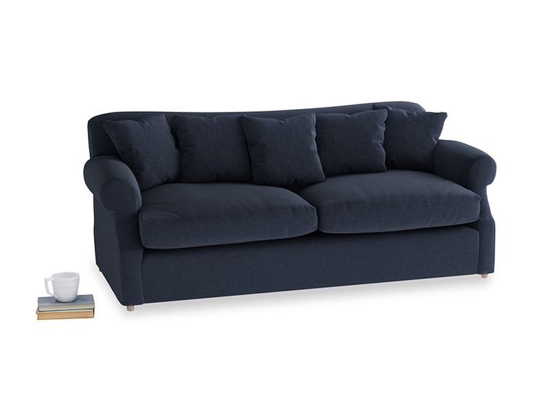 Large Crumpet Sofa Bed in Indigo vintage linen
