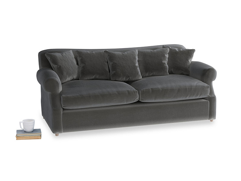 Large Crumpet Sofa Bed in Steel clever velvet