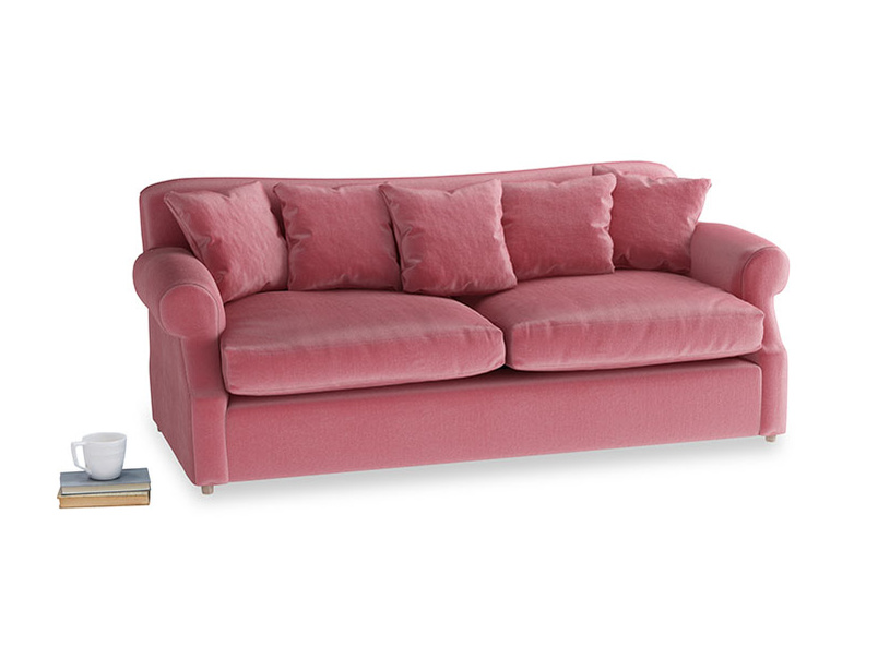 Large Crumpet Sofa Bed in Blushed pink vintage velvet