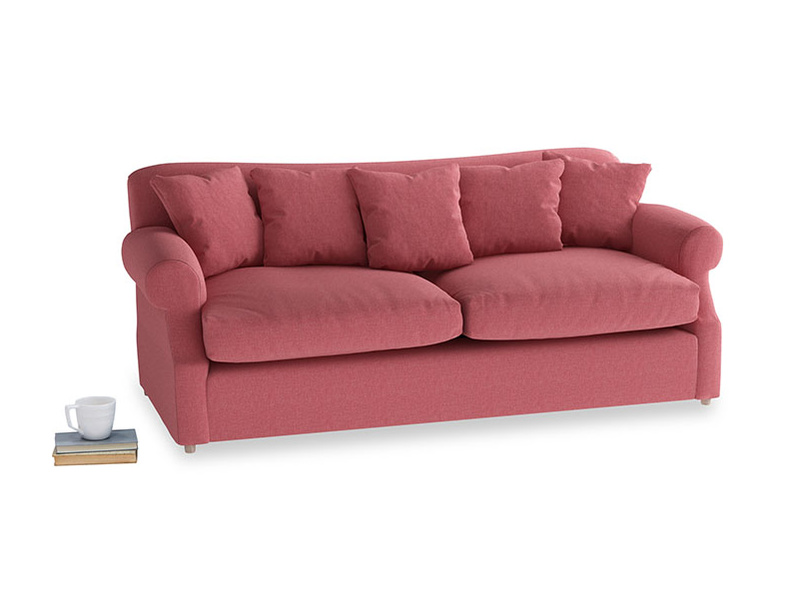 Large Crumpet Sofa Bed in Raspberry brushed cotton