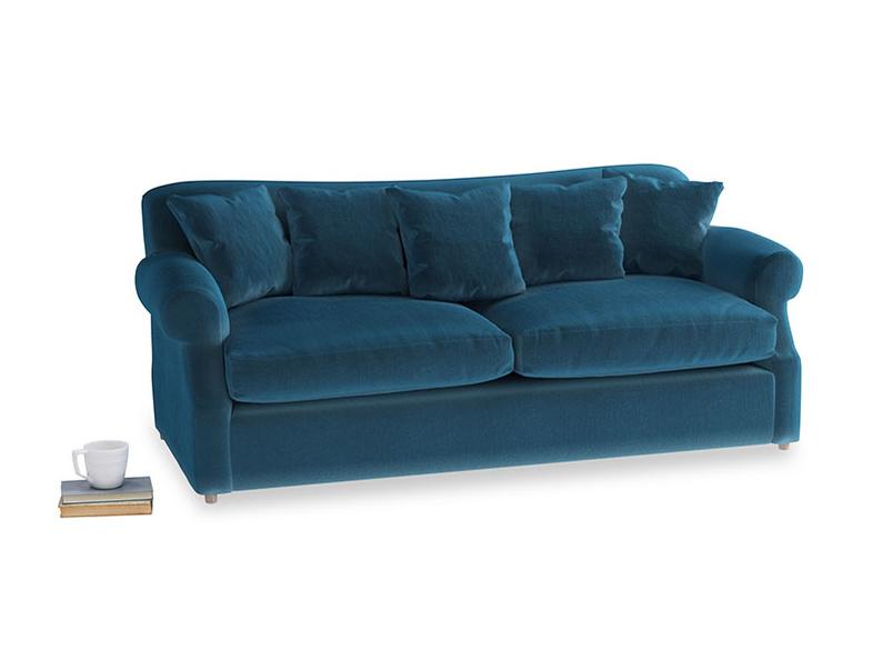 Large Crumpet Sofa Bed in Twilight blue Clever Deep Velvet