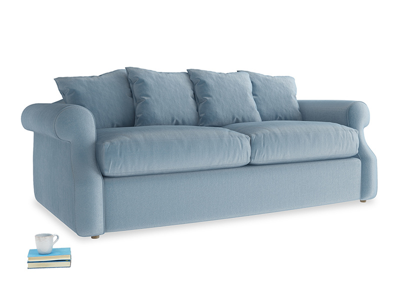 Medium Sloucher Sofa Bed in Chalky blue vintage velvet