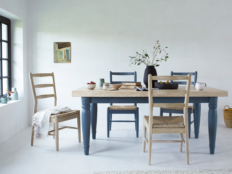 Hobnob chairs in natural and blue with Scullery kitchen table
