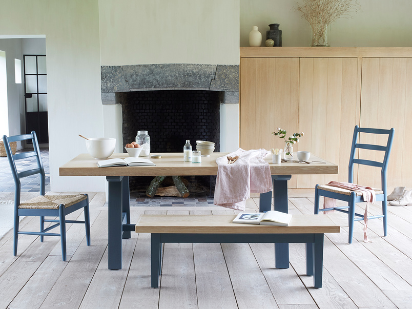 Trestle painted oak top kitchen table with Hobnob chairs and Plonk bench