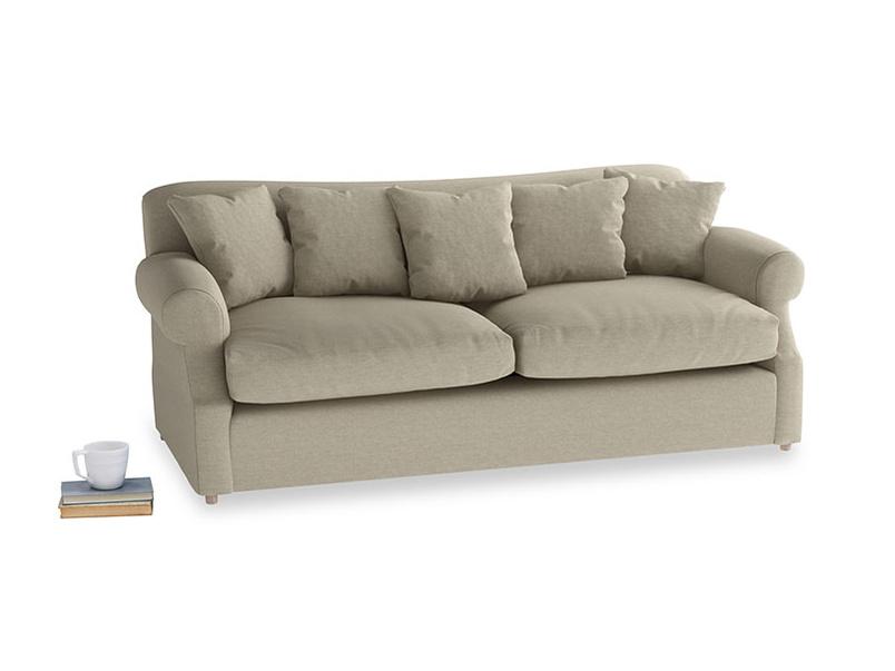 Large Crumpet Sofa Bed in Jute vintage linen