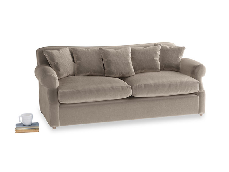 Large Crumpet Sofa Bed in Fawn clever velvet
