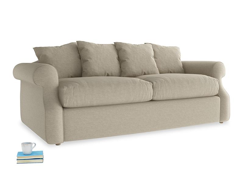 Medium Sloucher Sofa Bed in Jute vintage linen