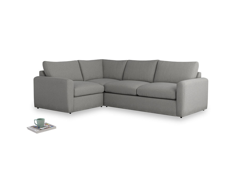 Large left hand Chatnap modular corner storage sofa in Cloudburst Bamboo Softie with both arms