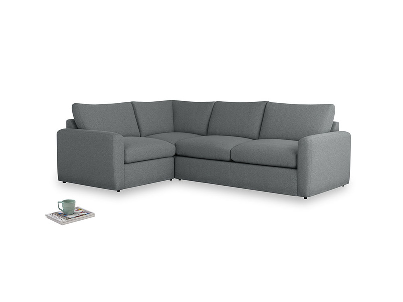 Large left hand Chatnap modular corner storage sofa in Cornish Grey Bamboo Softie with both arms