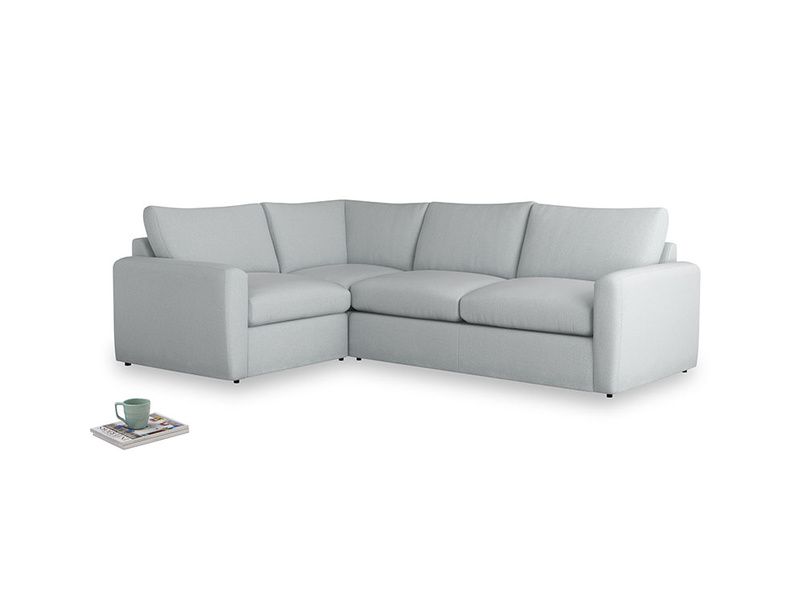 Large left hand Chatnap modular corner storage sofa in Gull Grey Bamboo Softie with both arms