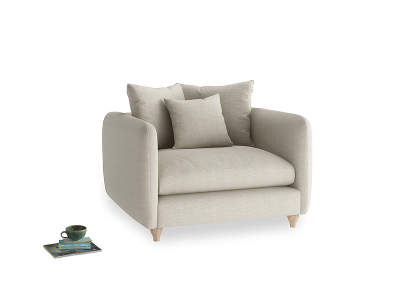 Podge Love Seat in Thatch house fabric