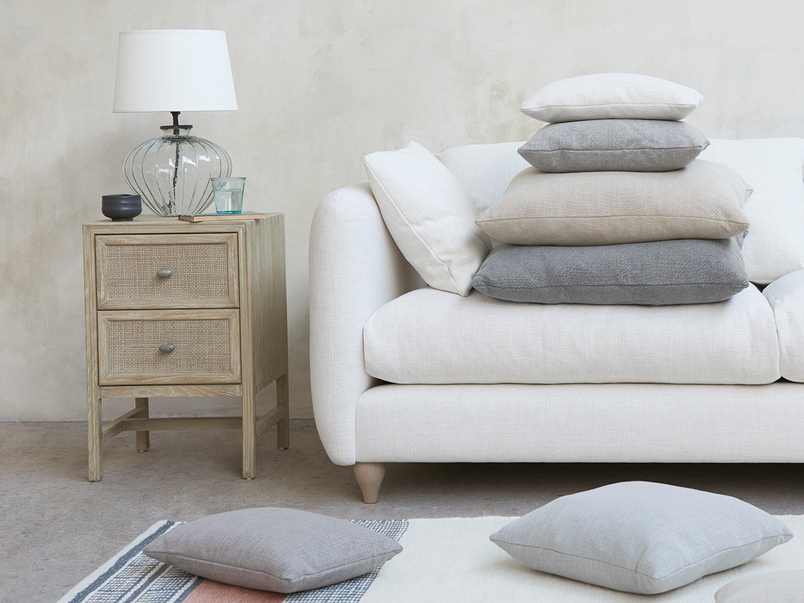 Bamboo Softie coloured natural fabric upholstered sofa and cushions