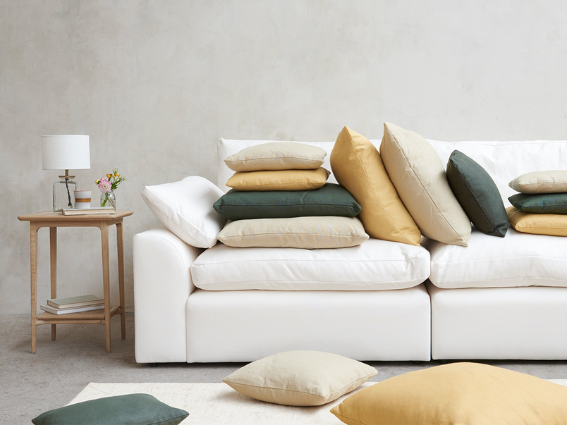Clever Linen fabric upholstered sofa and cushions