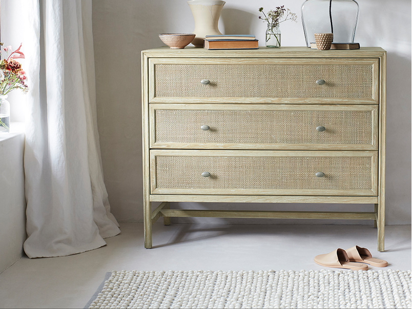Willow wooden three drawer chest of drawers