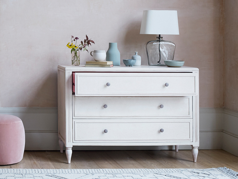 Pimpernel pink and white three drawer chest of drawers