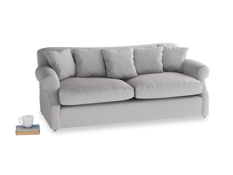 Large Crumpet Sofa Bed in Flint brushed cotton
