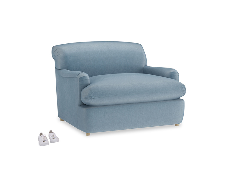 Pudding Love Seat Sofa Bed in Chalky blue vintage velvet