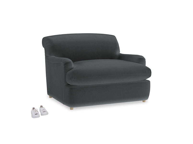Pudding Love Seat Sofa Bed in Dark grey Clever Deep Velvet