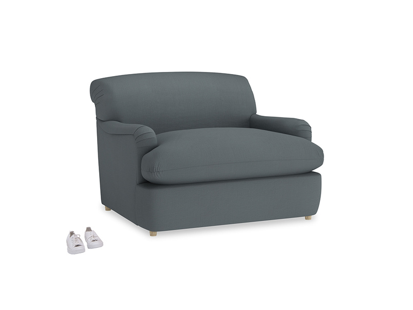 Pudding Love Seat Sofa Bed in Meteor grey clever linen