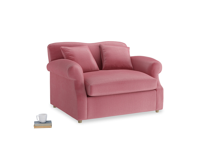 Crumpet Love Seat Sofa Bed in Blushed pink vintage velvet