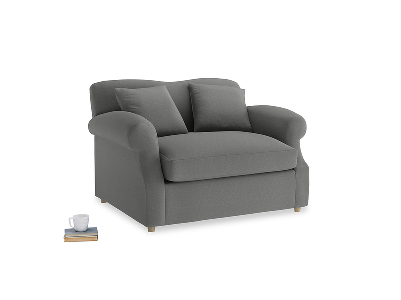 Crumpet Love Seat Sofa Bed in French Grey brushed cotton