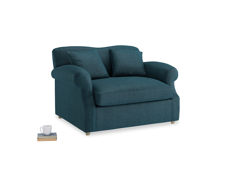 Crumpet Love Seat Sofa Bed in Harbour Blue Vintage Linen