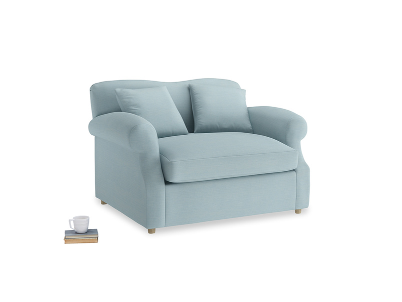 Crumpet Love Seat Sofa Bed in Powder Blue Clever Softie