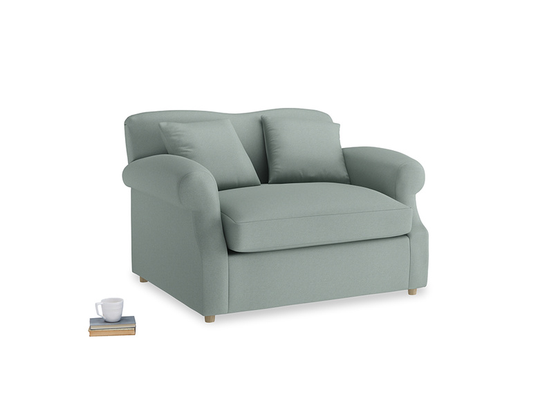 Crumpet Love Seat Sofa Bed in Sea fog Clever Woolly Fabric