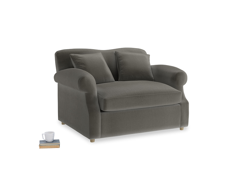 Crumpet Love Seat Sofa Bed in Slate clever velvet