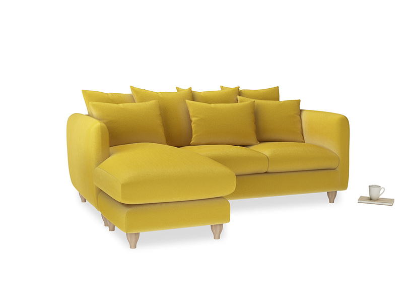 Large left hand Podge Chaise Sofa in Bumblebee clever velvet