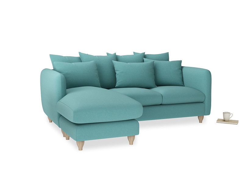 Large left hand Podge Chaise Sofa in Peacock brushed cotton