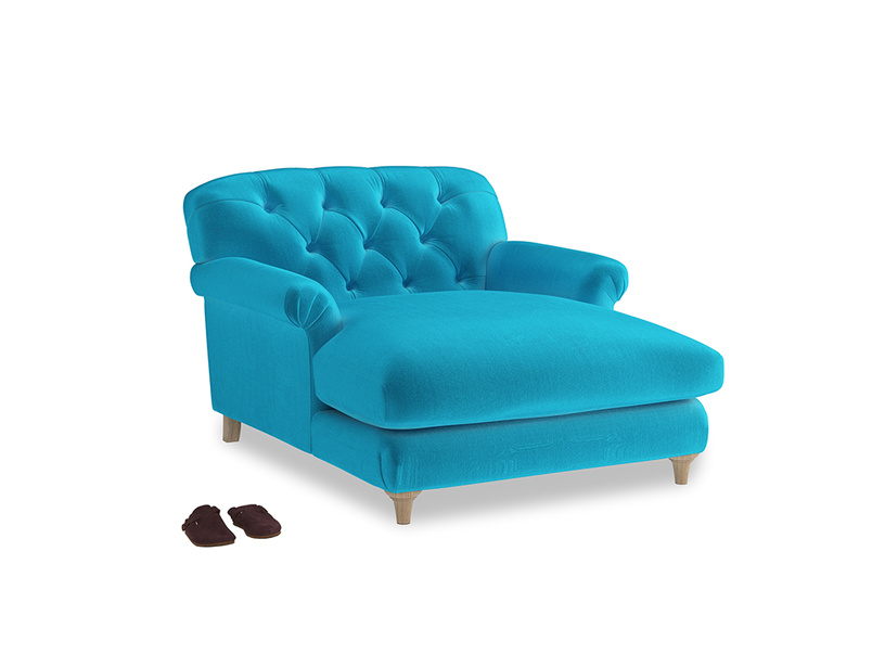 Truffle Love Seat Chaise in Azure plush velvet