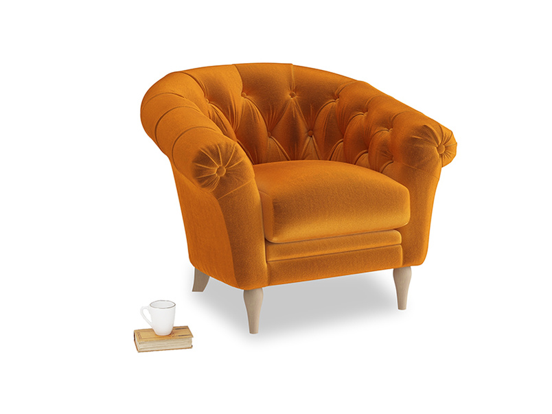 Tubbie Occasional Chair in Spiced Orange clever velvet
