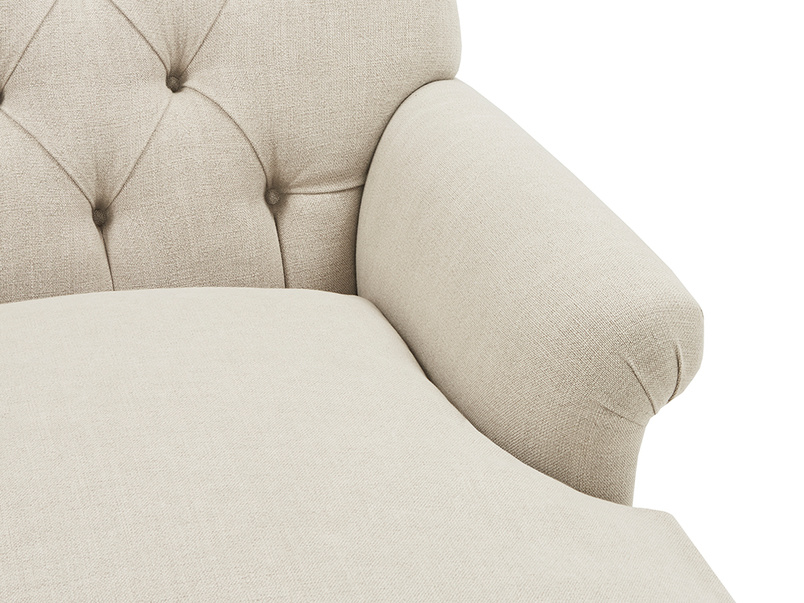 Truffle Chesterfield Love Seat Chaise Sofa Snuggler seat detail