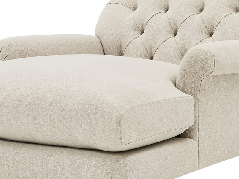 Truffle Chesterfield Love Seat Chaise Sofa Snuggler arm detail