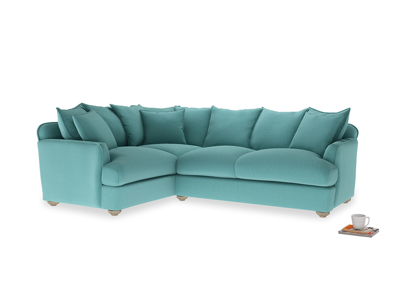 Large left hand Smooch Corner Sofa Bed in Peacock brushed cotton
