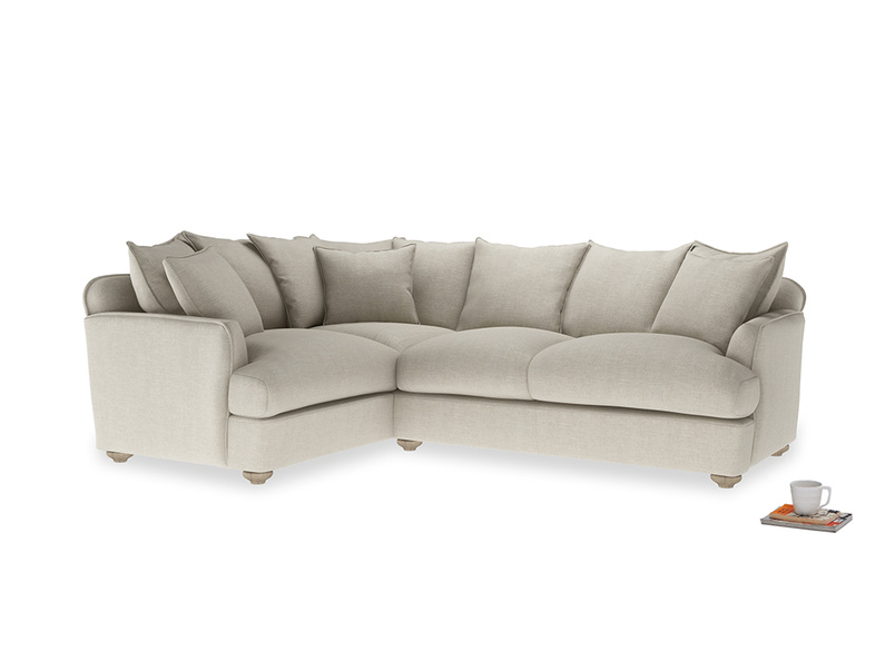 Large left hand Smooch Corner Sofa Bed in Thatch house fabric
