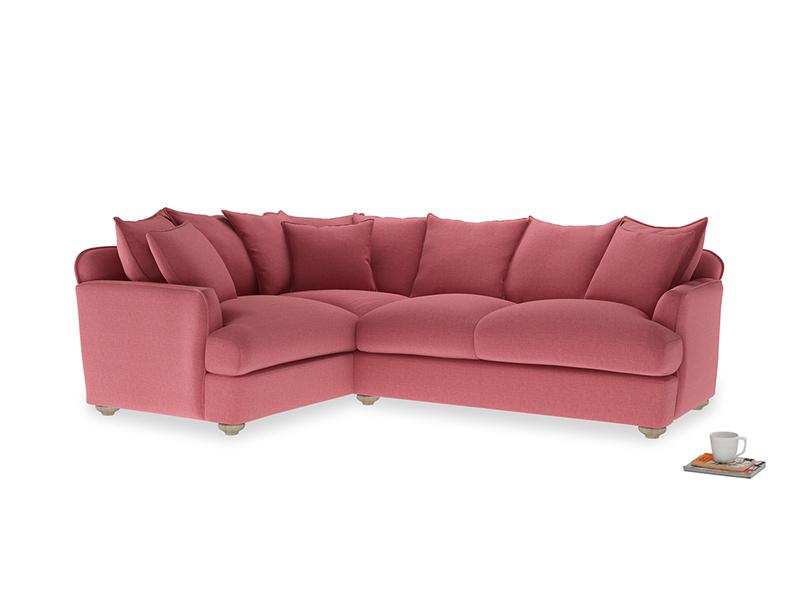 Large Left Hand Smooch Corner Sofa in Raspberry brushed cotton