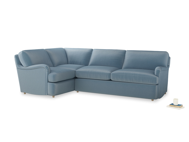 Large left hand Jonesy Corner Sofa Bed in Chalky blue vintage velvet